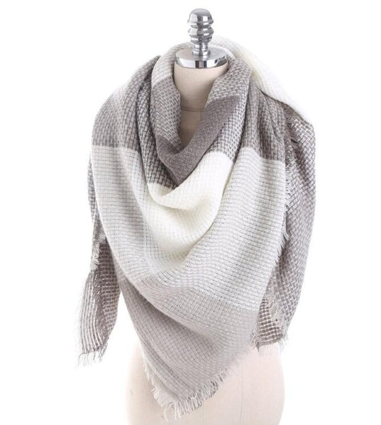 Fashion Luxury Brand Winter Scarf Women Square Stitching Plaid Cashmere