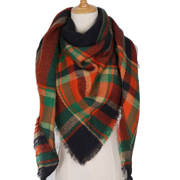 Winter Pashmina Scarf Wraps Plaid Foulard
