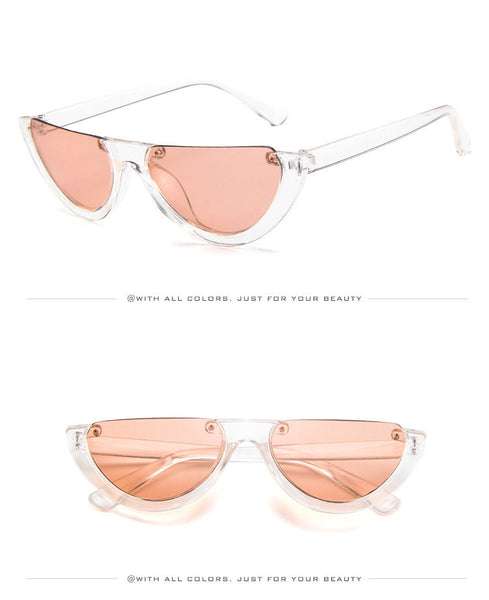 Half Frame Sunglasses Womens Vintage Rimless Shades Trendy Cat Eye