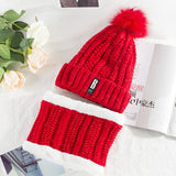 Women 2 Pieces Set Winter Beanies Hat With Pompom Fleece Caps With Scarf