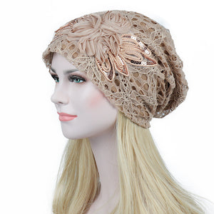 Turban Hats For Women Lace Knitted Cap Fashion Flower
