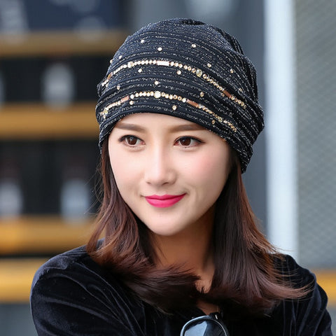 Turban Hat Women Summer Skullies Beanies Rhinestone Hats