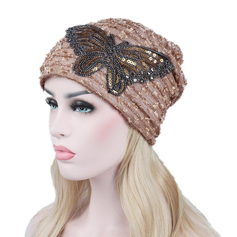 Sequin Turban Hat Women Animal Beanies For Adults