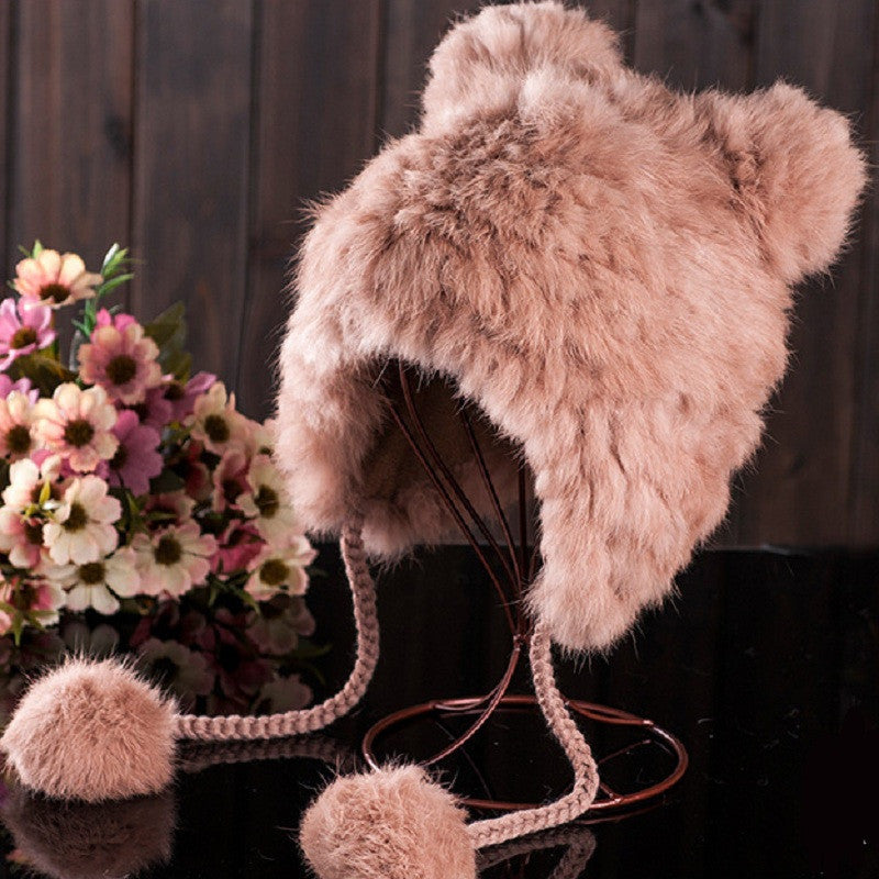 Soft Knit Beanie Rabbit Fur Pompom Kids Cap With Ears Winter Earflaps