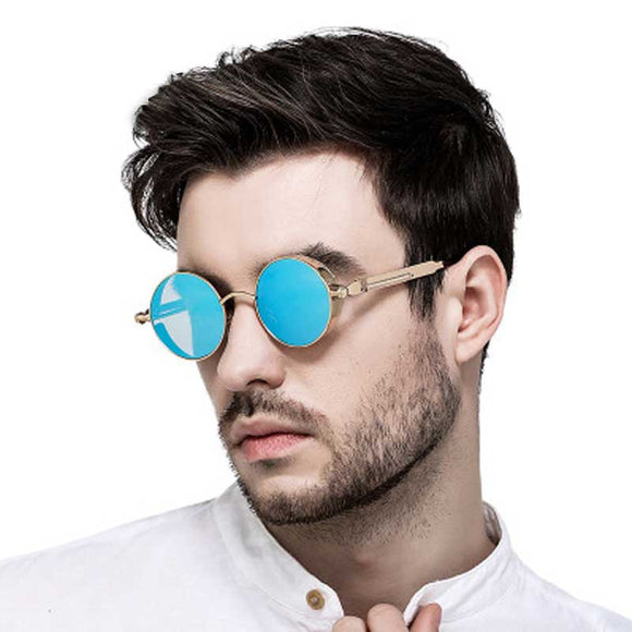 Gothic Steampunk Sunglasses for Men Women Vintage Round Retro