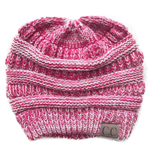 Solid Color CC Ponytail Beanie Hat Women Crochet