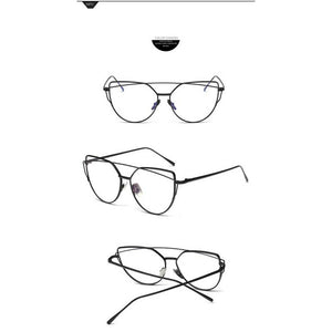 Cat Eye Eyeglasses Double Beams Transparent Lens Anti-blue Light Eyewear