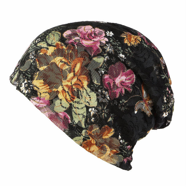 Women Summer Turban Hat Lace Flower Beanie Cap