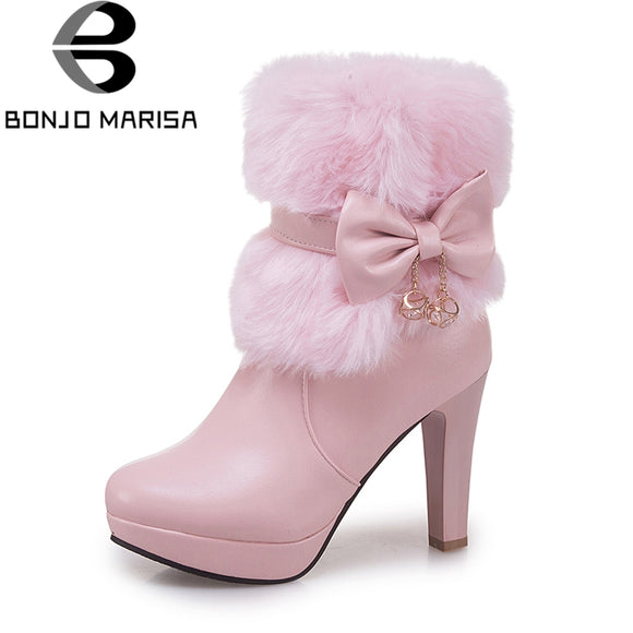 Sweet Large Size 32-43 Platform Zip Up Woman Shoes Fashion Mid Calf Boots Warm Booties Shoes Woman