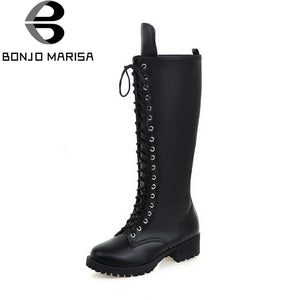 Fashion Woman Riding Boots Comfortable Shoeslace women's Shoes Woman knee-high Boots