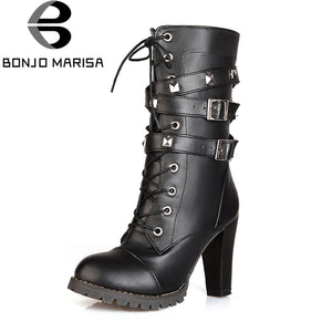 Sexy Rivets Buckles Decoration Shoes Woman Party Booties Sexy High Heels Woman Boots