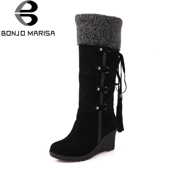 BONJOMARISA Brand New Wedges Fringe Solid Round Toe Shoes Woman 2018 Casual Winter Mid-Calf Boots Large Size 34-43
