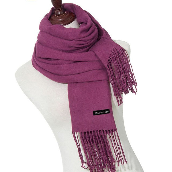 Cashmere Scarves With Tassel Solid Color Lady Winter Scarf