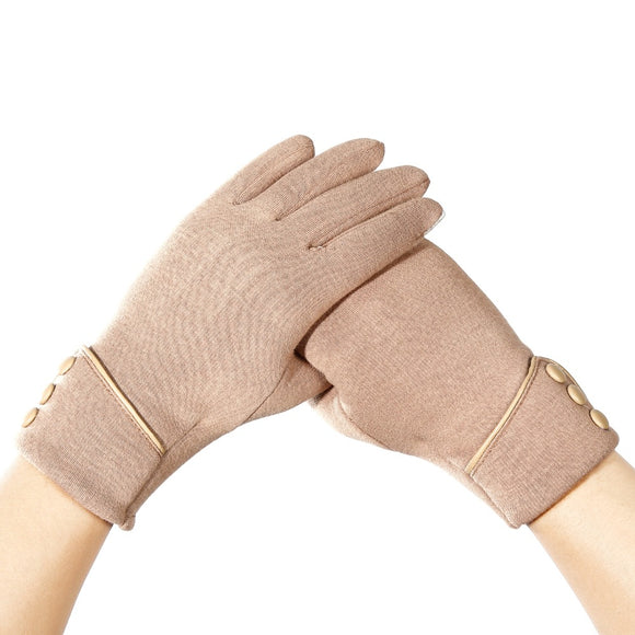 Elegant Velvet Gloves Touch Screen Winter Windproof Full Finger