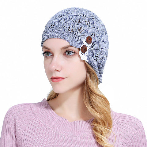 Women Girls Beanie Knitted Autumn Turban Hat Button Hollow