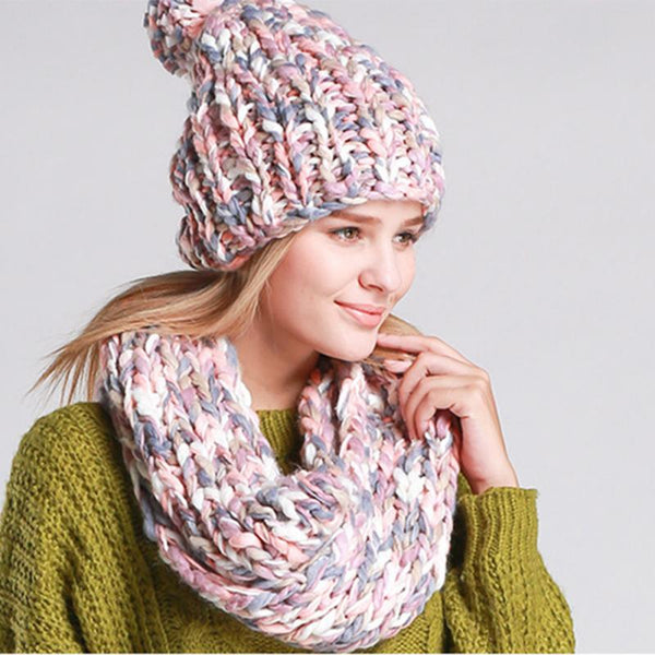 Women Scarves Hats Knitted Wool Neck Cowl Wrap