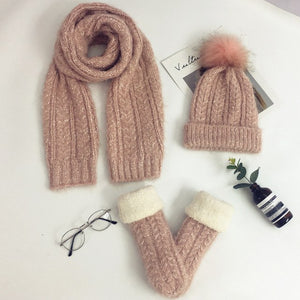 Three Piece Female Winter Knitted Wool Scarf Hat Velvet Gloves