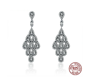 Authentic 925 Sterling Silver Cascading Glamour Earrings, Clear CZ Earrings
