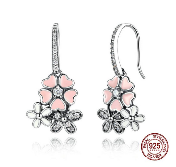 Sterling Silver 100% 925 Pink Flower Poetic Daisy Cherry Blossom Drop Earrings with Pearl Back