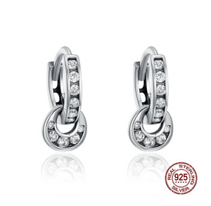 925 Sterling Silver Double Circle Dazzling CZ Round Hoop Earrings