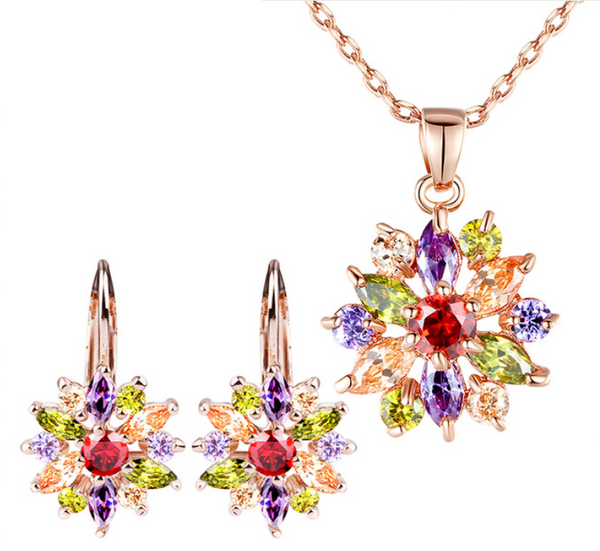 Luxury Gold Color Flower Jewelry Sets For Women Wedding with Colorful AAA Cubic Zircon