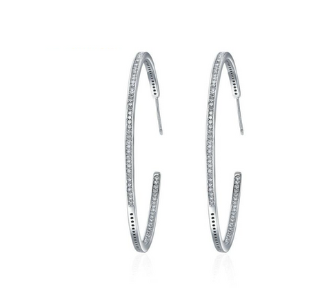 Silver Color Luminous Clear CZ Circle Hoop Earrings for Women