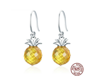 Sterling Silver Hanging Pineapple Crystal Drop Earrings for Women