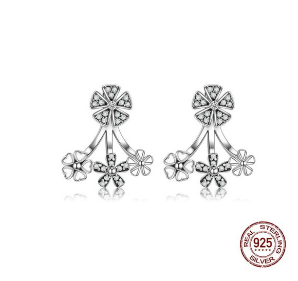 Sterling Silver 925 Trendy Natural Flower Dazzling Daisy Earrings Jacket for Women