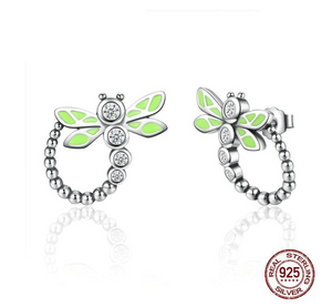Real 925 Sterling Silver Vivid Green Dragonfly Animal Drop Earrings For Women Fashion Anniversary Jewelry