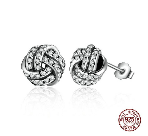 Sterling Silver 925 Weave Classic Push-back Stud Earring Women
