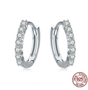 100% 925 Sterling Silver Dazzling CZ Crystal Circle Round Hoop Earrings
