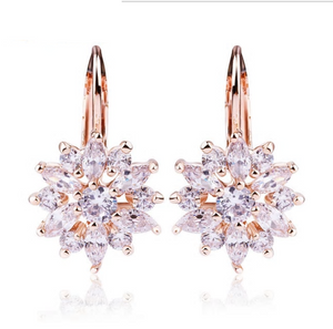 3 Colors Luxury Gold Color Flower Stud Earrings with Zircon Stone Women Gift