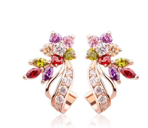 Stud Earrings Gold Color Flower Oversized Big with Multicolor AAA Zircon Stone