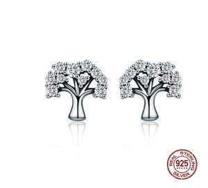 Authentic 100% 925 Sterling Silver Tree of Life ,Clear CZ Stud Earrings