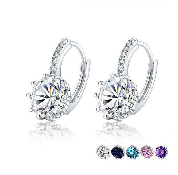 Trendy Genuine Silver Color Round Hoop Earrings with AAA Zircon For Women