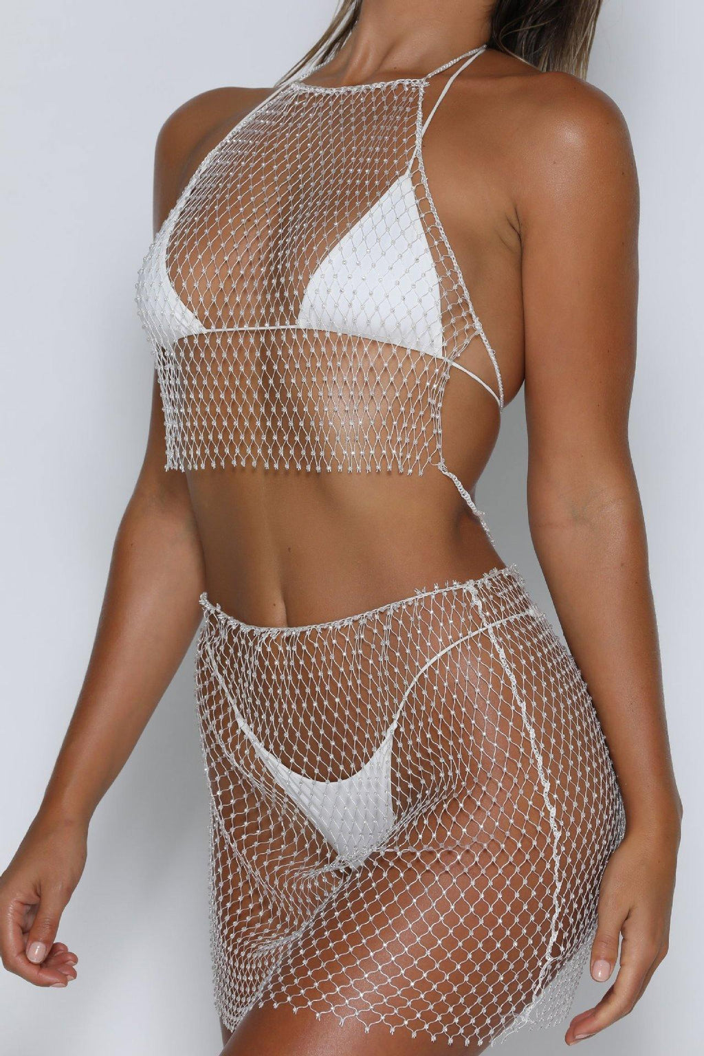 Shine Fishnet Rhinestone Set