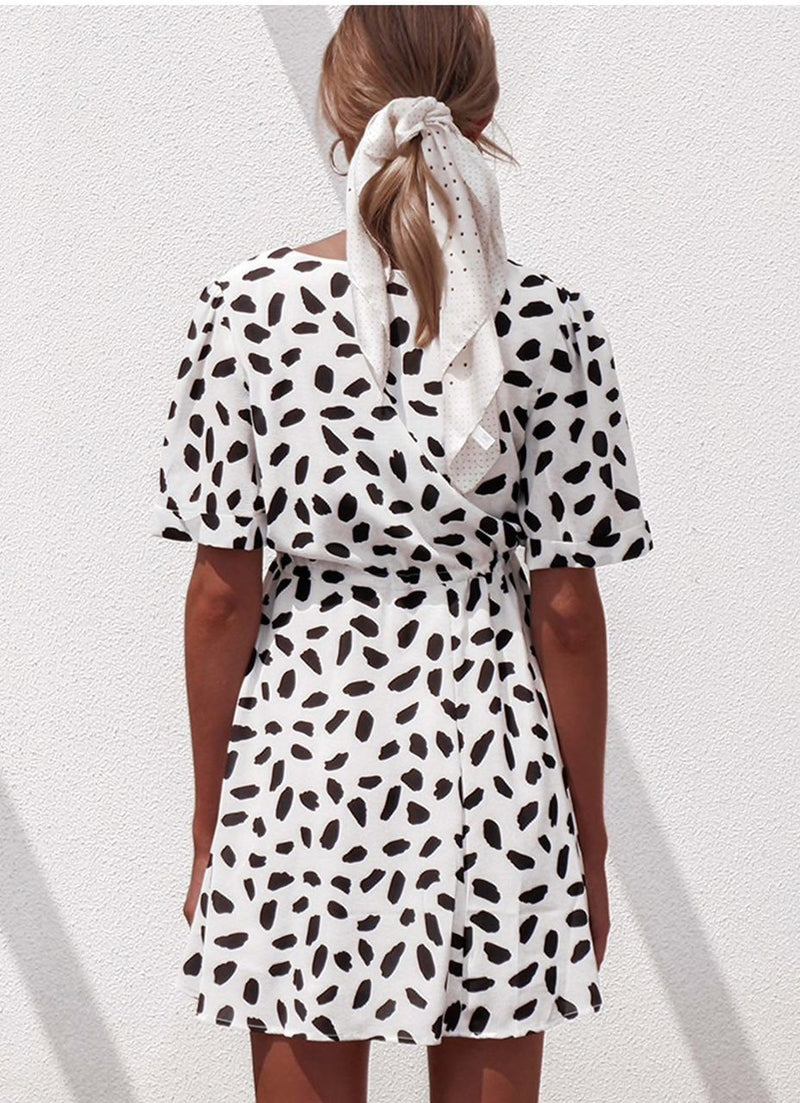 White Leopard Dress