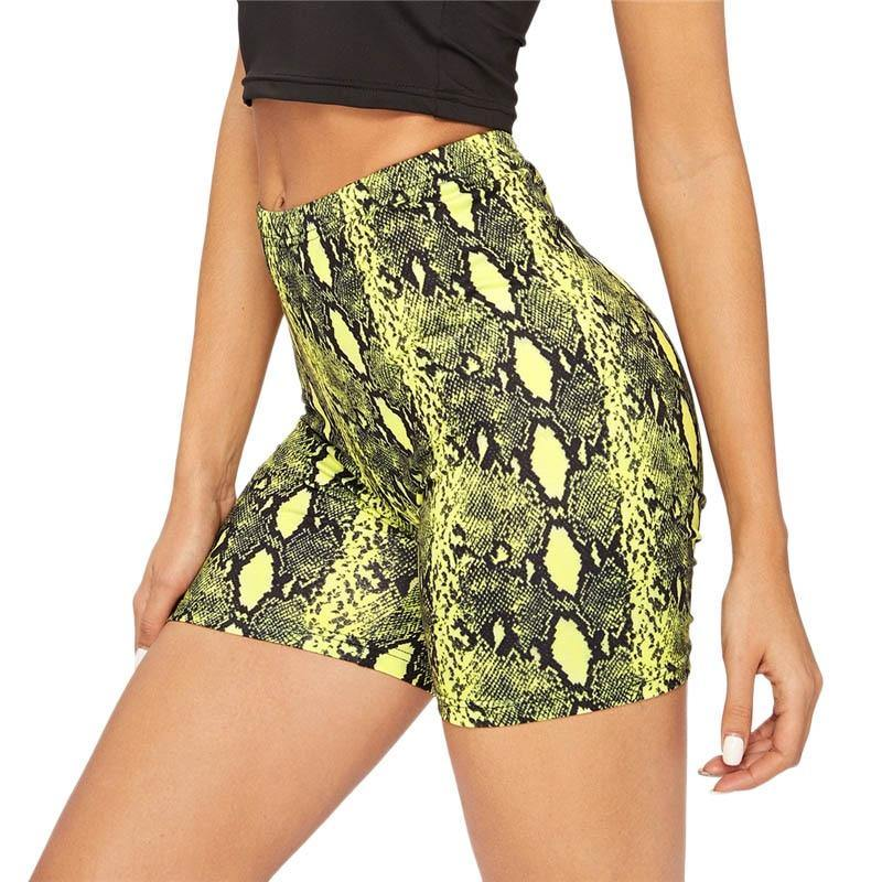 Neon Yellow Snakeskin Cycling shorts