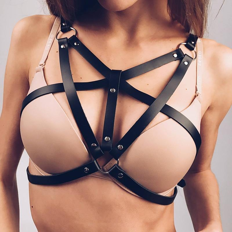 Love Struck Leather Harness Bra