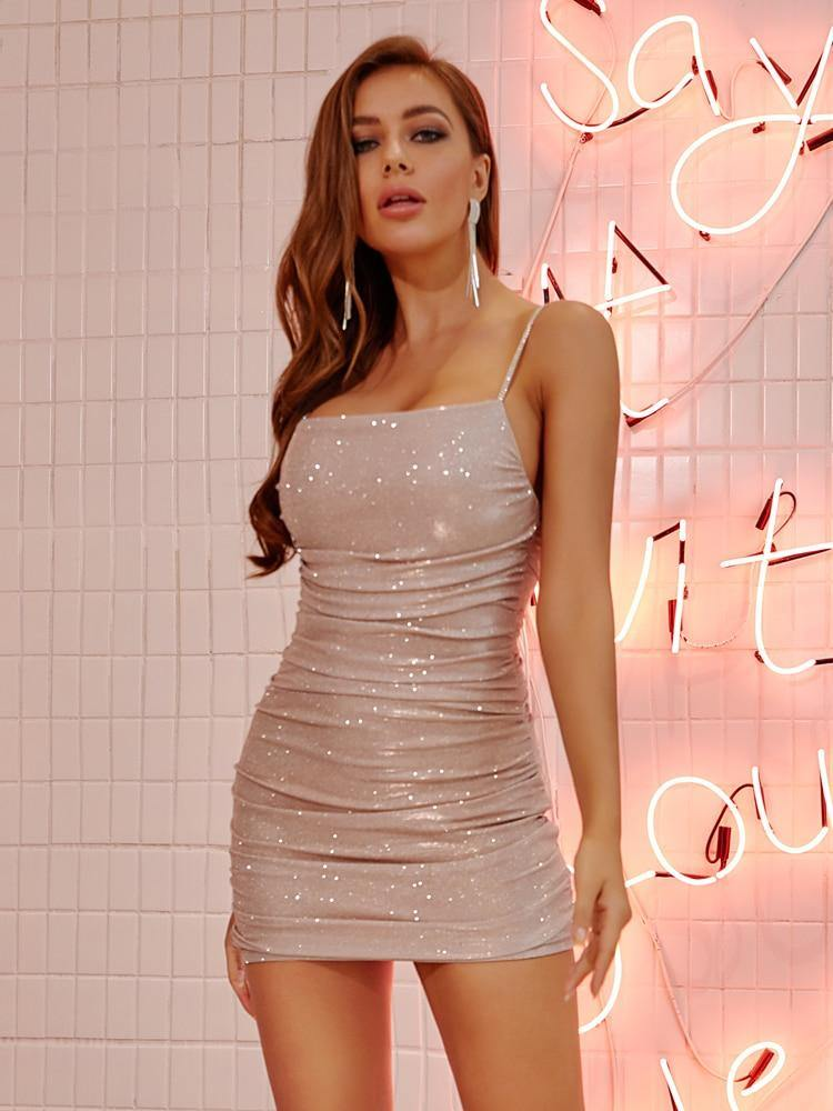 Diamond Embellished Mini Dress
