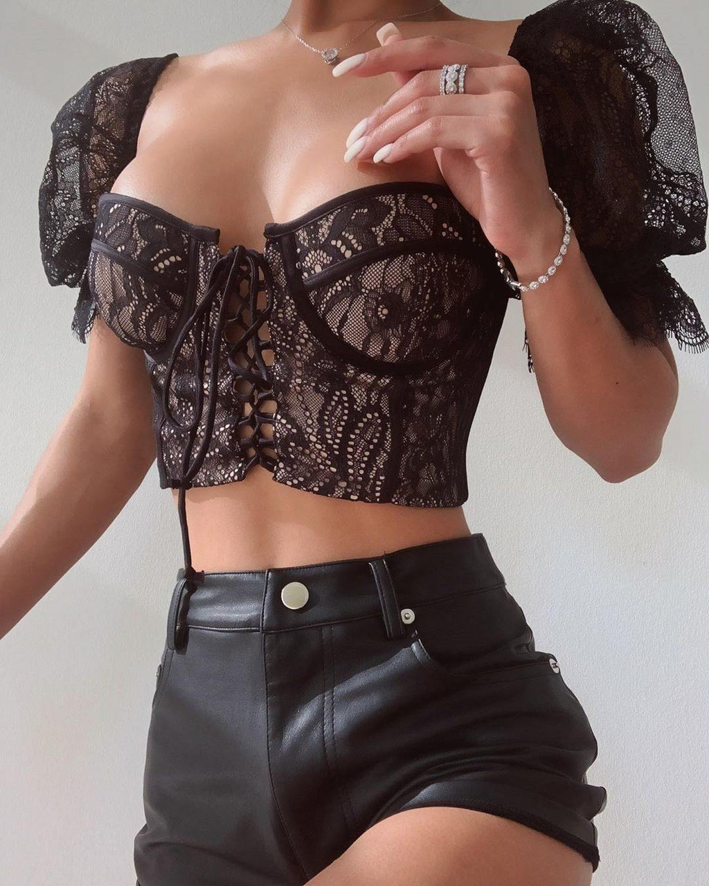 Regina Lace-Up Crop Top