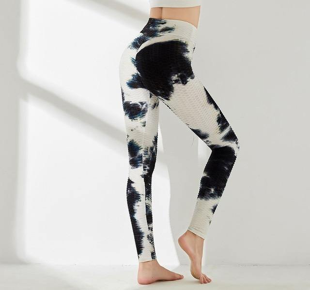 Black/White Tie Dye Yoga Pants - VAVANA