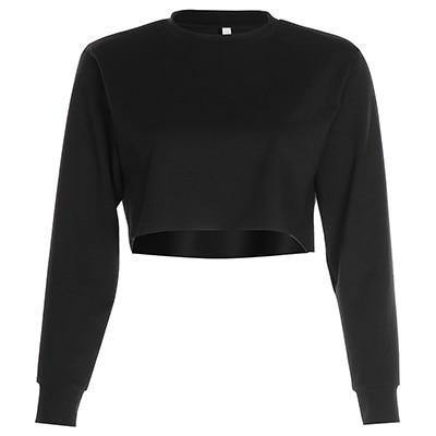 Drop Shoulder Solid Crop Pullover - VAVANA