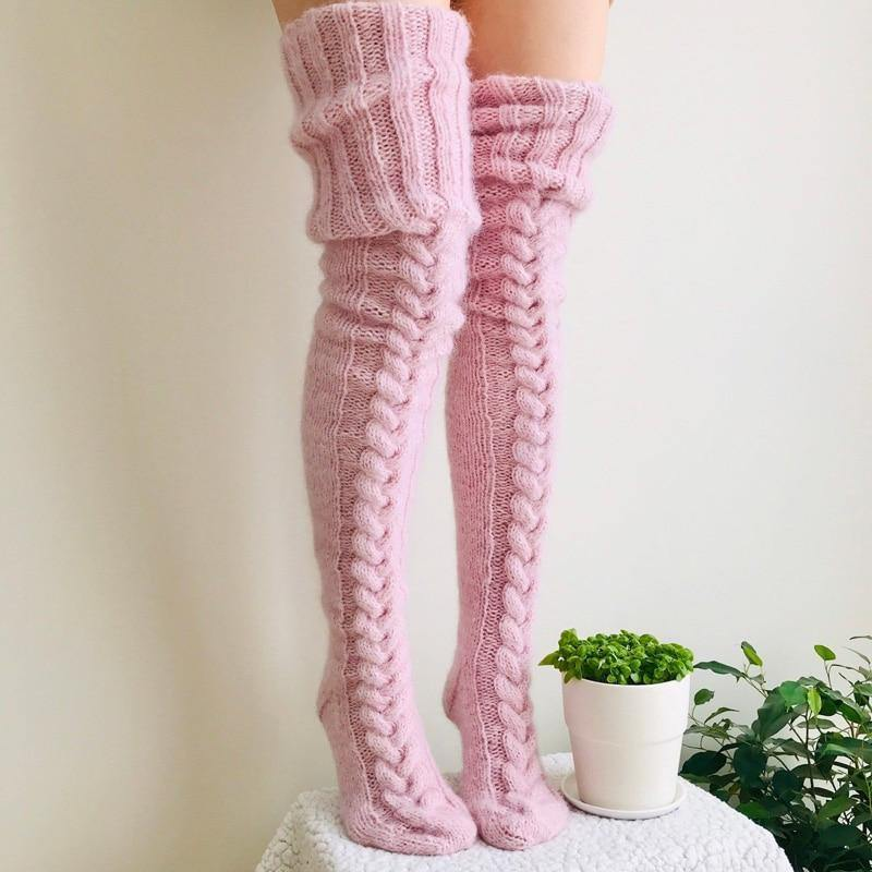 Knitted Thigh High Socks - VAVANA
