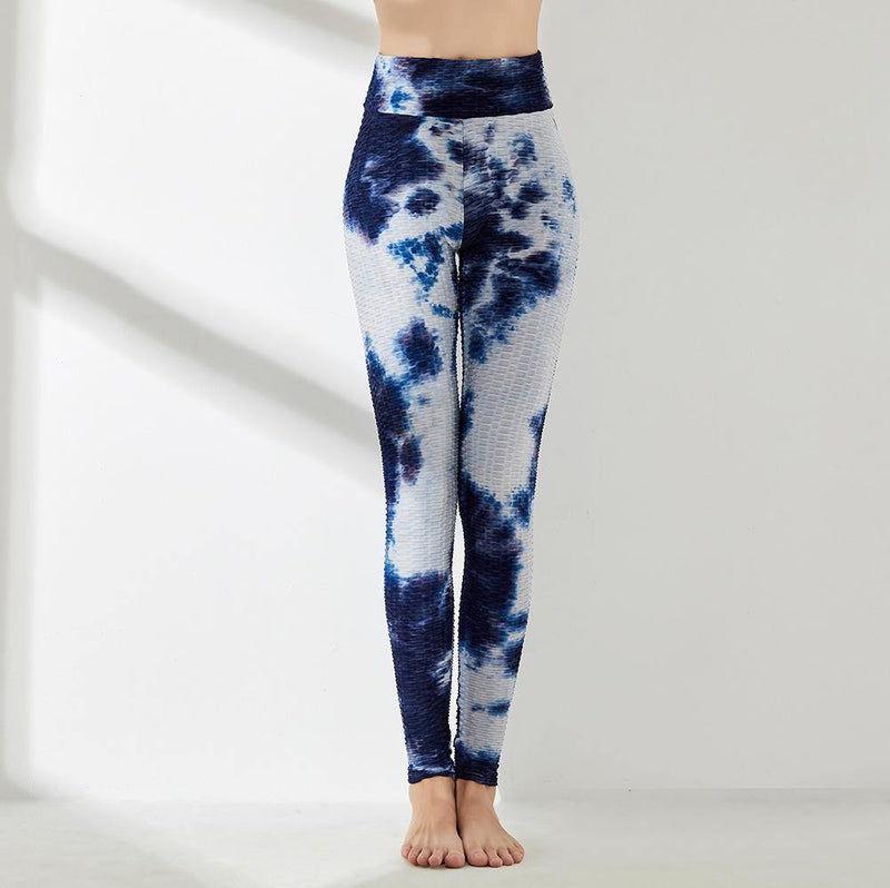 Blue Tie Dye Yoga Pants - VAVANA