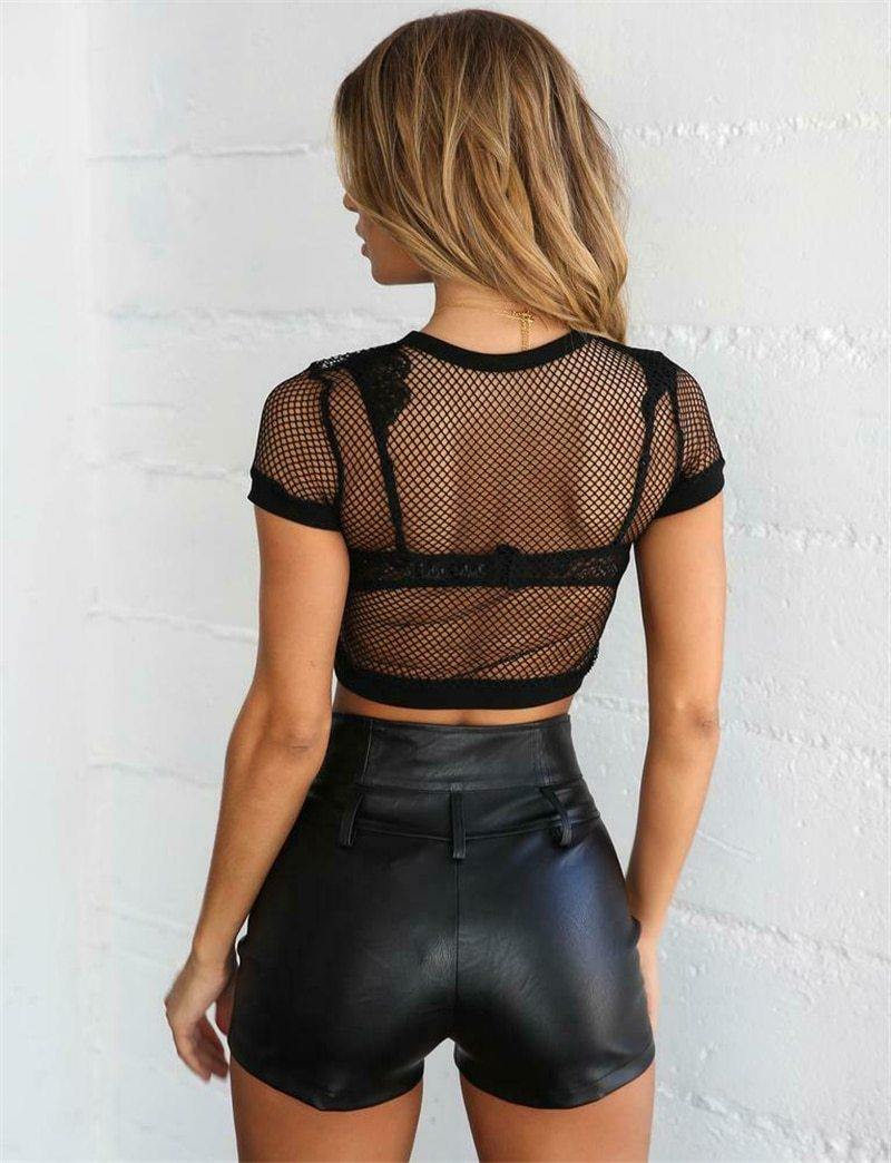 Fishnet Crop Top - VAVANA