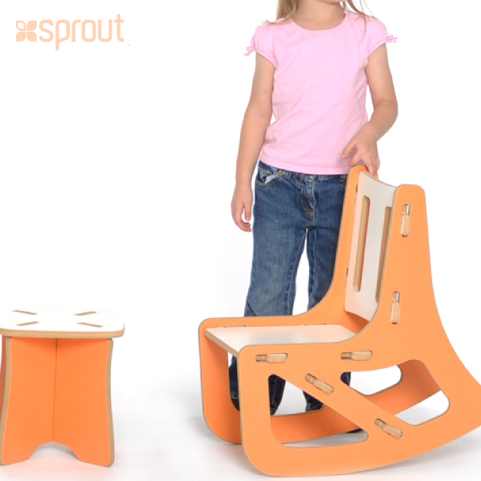 Rocking Chair and Stool- Orange