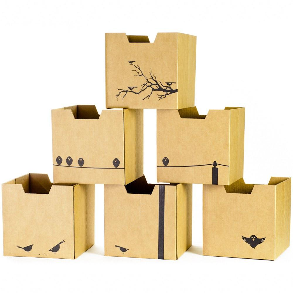 Bird Print Kids Storage Bins, all faces