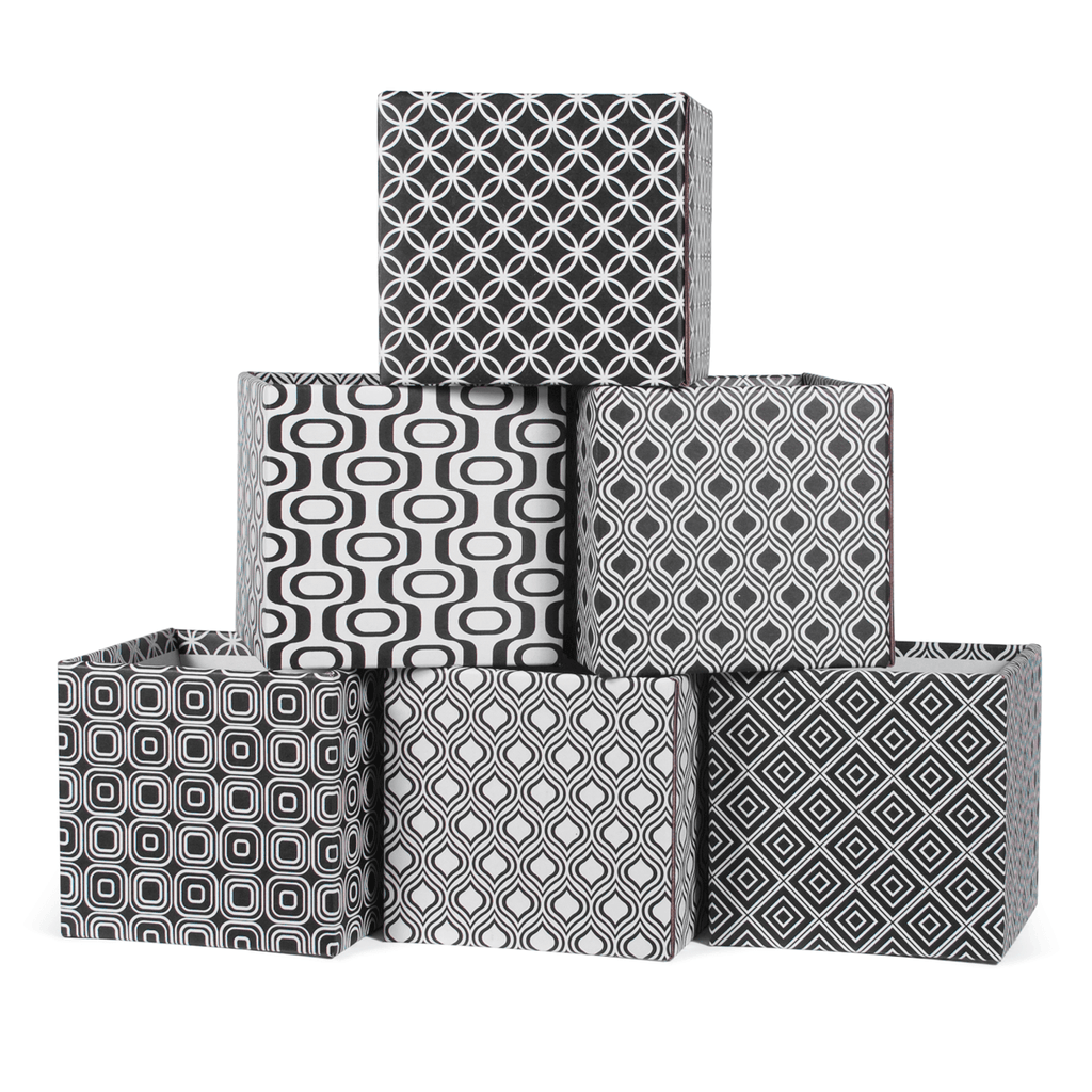 Black and White Modern Patterns Decorative Cardboard Storage Boxes