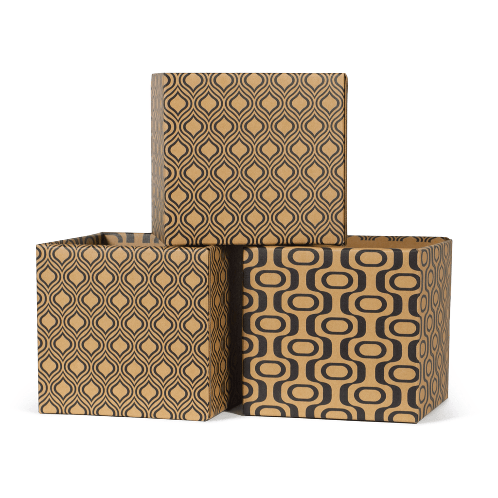 Modern Wave Pattern Modern Decorative Cardboard Storage Bin 6-Pack